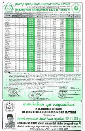 Jadwal imsakiyah Ramadhan 1439 H / 2018 M, Untuk Wilayah kota Batam dan Sekitarnya