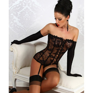 Strapless Sheer Lace Corset