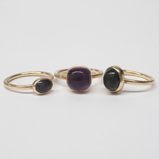 14K Gold 3 Stone Ring Set