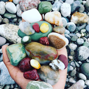 Colorful stones on the bank of Indus River