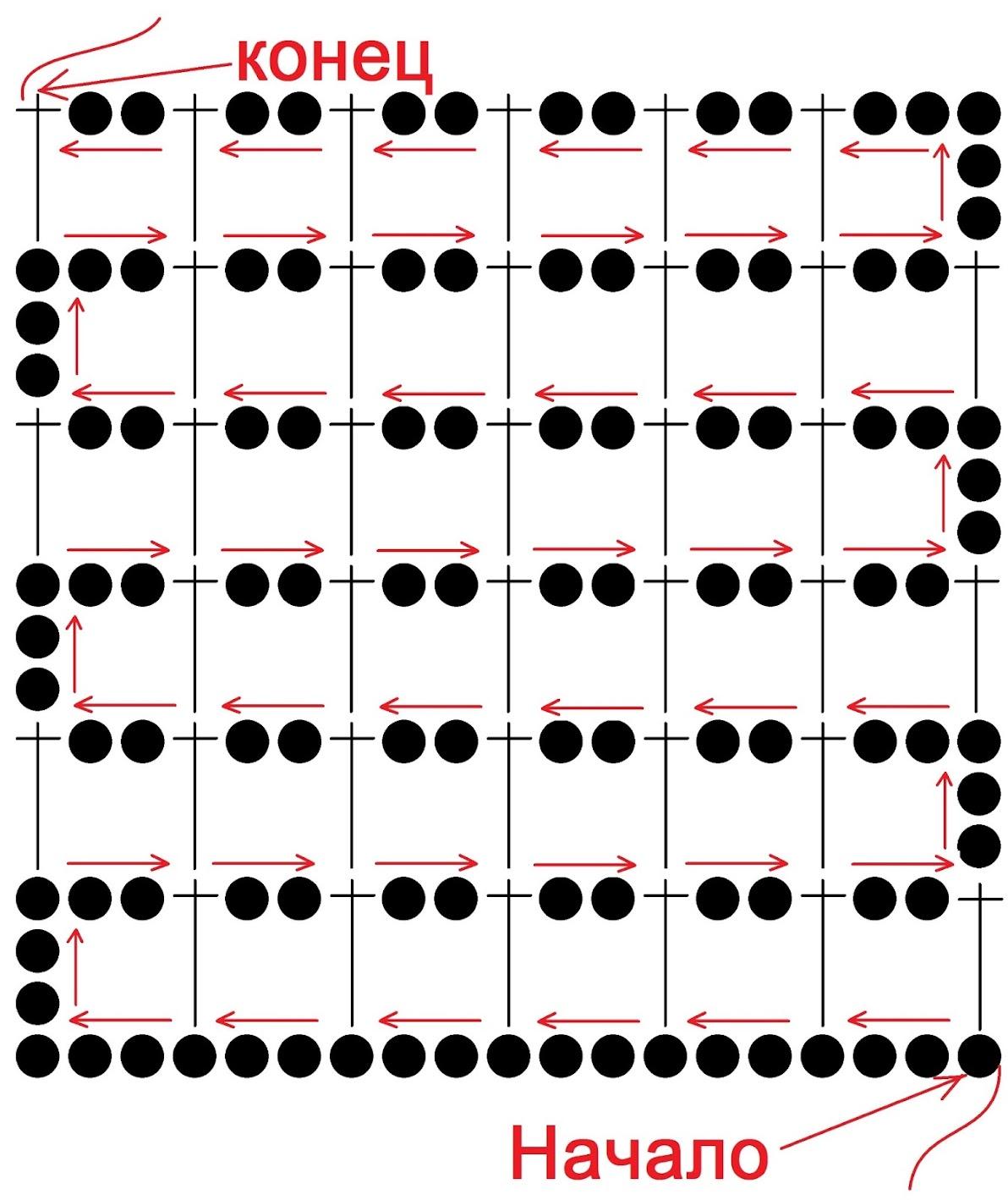 схема салфетки крючком с нечетным количеством элементов