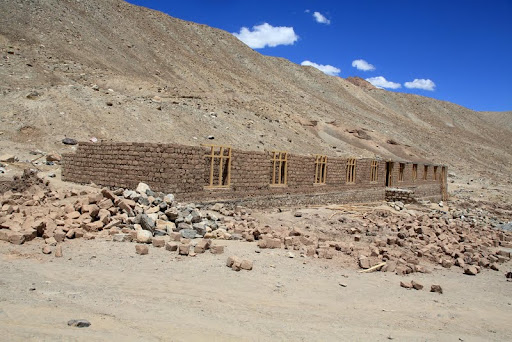 Building being constructed for planned institute of higher learning for nuns, Laddakh, India, July 2012. Photo by Marlies Bosch.
