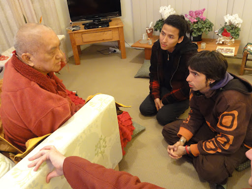 Gomo Tulku and Osel discussing with Lama Zopa Rinpoche in Australia June 2011