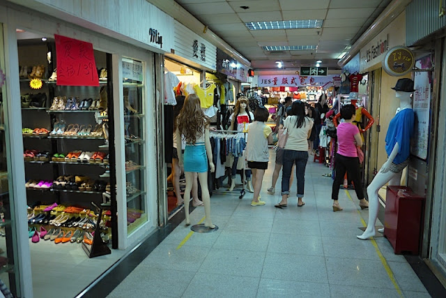 clothing and shoes stores at Dongmen in Shenzhen, China