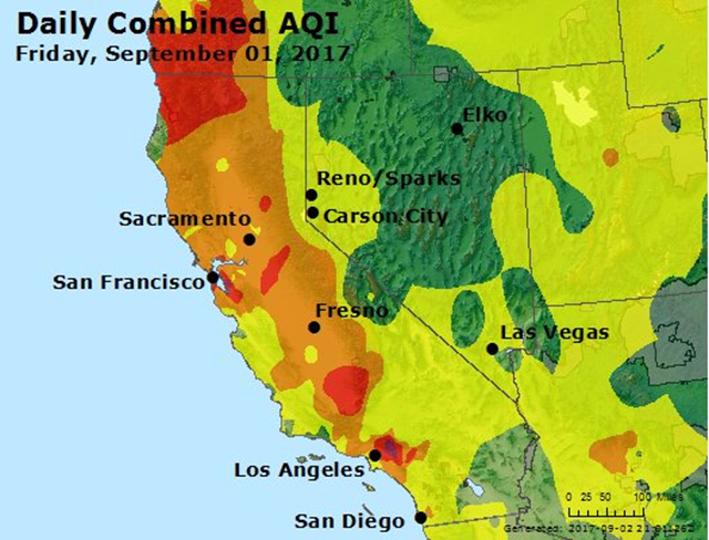 "The Air Quality Index (AQI) for the combined effects of ozone and PM2.5 pollution for 1 September 2017. Widespread areas of pollution in the red zone, ""Unhealthy"", were recorded in California and Oregon, due to PM2.5 from wildfire smoke and the presence of high levels ozone from the extreme heat. Photo: EPA"
