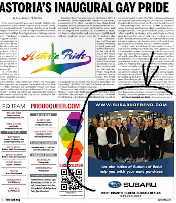 Astoria Gay Pride headline over lesbians featured in Subaru of Bend Oregon ad in gay newspaper PQ May/June 2016, p. 4
