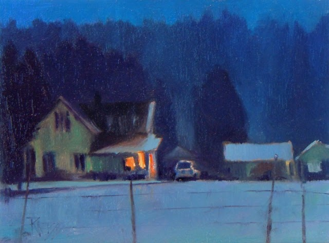 In plein air wintertwilight on big valley rd oil - Exterior painting in cold weather ...