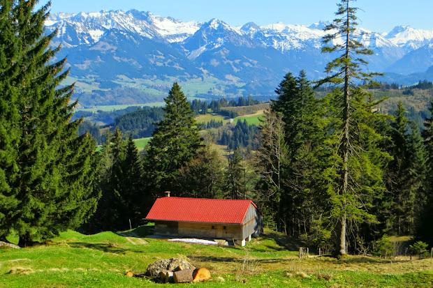 Alpe Kaser Blick auf Alpe Kaser Nebelhorn Rubihorn Kratzer