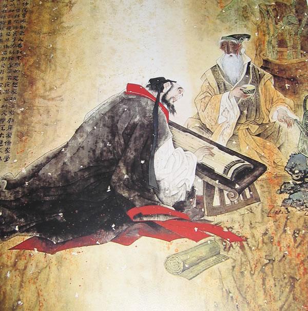 Sun Yutian Confucius Plucking Musical Instrument, Confucius