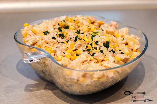sałatki,sałatka z kukurydzą, sałatka z ananasem, sałatka z tuńczykiem, szybka sałatka, sałatka w 5 minut