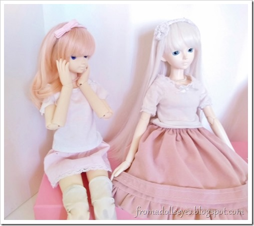 Usagi is staring at the poufy pink skirt.  She looks surprised.