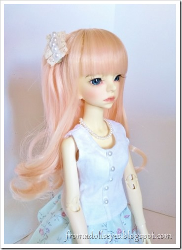 Side view of Misako wearing her pretty new doll clothes and accessories.