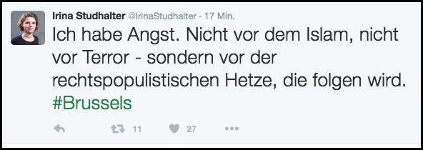 Grüne Irina Studhalter zu Brüsselanschlag
