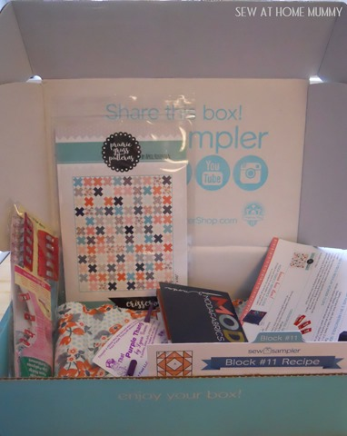 Sew Sampler box from fat quarter shop subscription via Sew at Home Mummy