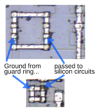 Metal loops connect the guard ring (at ground potential) to circuits that need a ground connection.