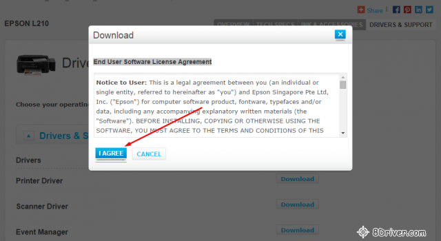 End User Software License Agreement of epson l210