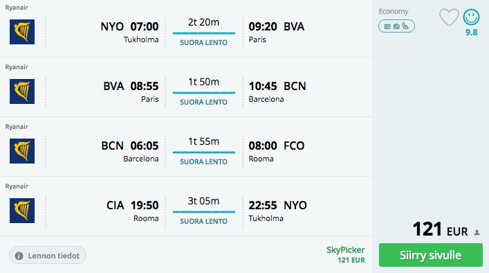 Lennot Tukhoma - Pariisi - Barcelona - Rooma - Tukholma