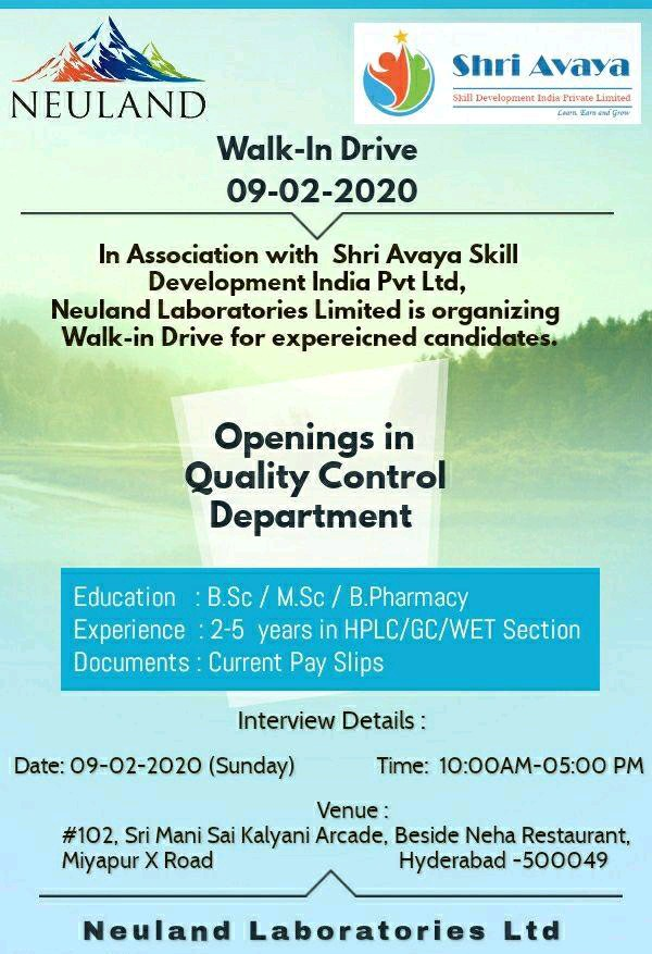 Neuland Laboratories Limited - Walk-In Drive on 9th Feb' 2020 @ Hyderabad