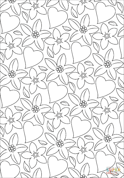 Click The Hearts And Flowers Pattern Coloring Pages To View Printable  Version Or Color It Online Patible With Ipad And Android Tablets
