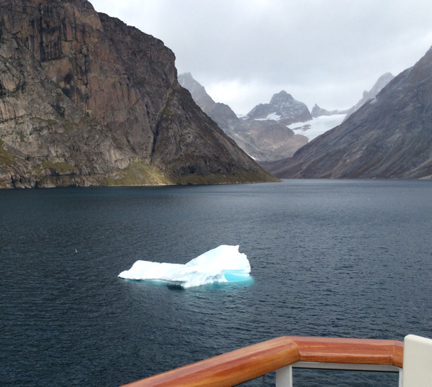 Onboard the Viking Sea with ice in narrow ship channel towards Qaqortoq (Source: Palmia Observatory)