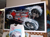 A beautiful painting of Ivo`s 4 engine dragster at a car show in 2008