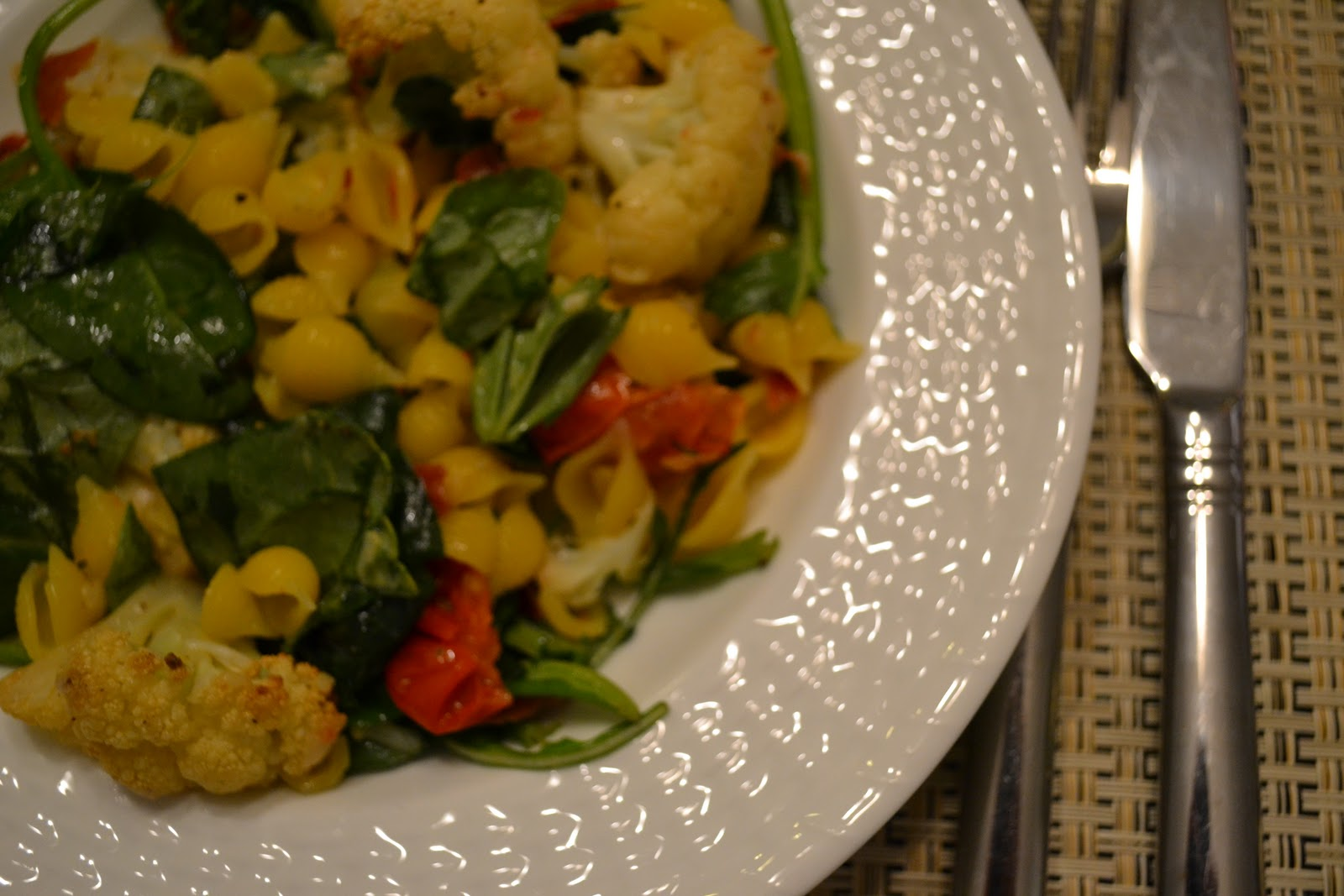 ... Ambition: Pasta with Roasted Cauliflower, Spinach, and Prosciutto
