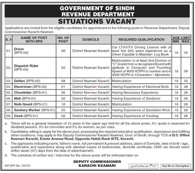 New Jobs in Revenue Department Pakistan 2021 (Age 18-35)  Jobs in Sindh Revenue Department Pakistan by www.newjobs.pk