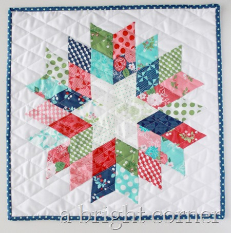 English Paper Piecing: A 6 Pointed star mini quilt using Gooseberry Fabric