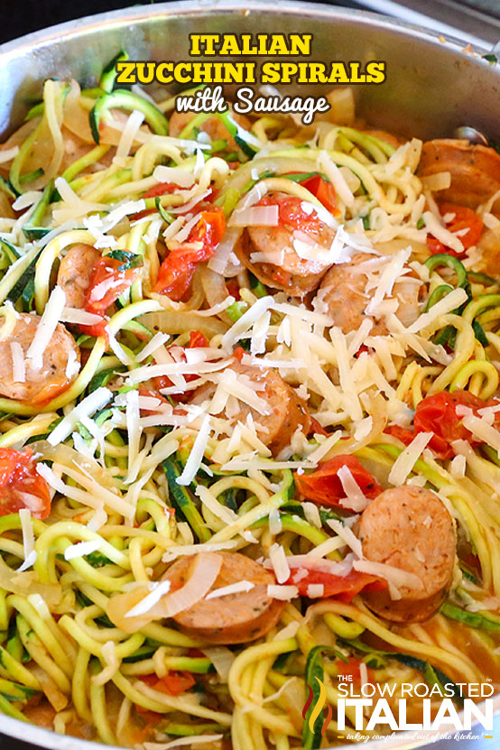 Italian Zucchini Spirals with Sausage in a skillet