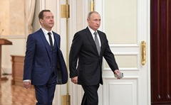 Vladimir Putin and Dmitry Medvedev.