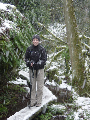 Photo of Tia on the Wilderness Creek Train on Cougar Mountain on a very snowy day in March! Photo taken on March 29, 2008.