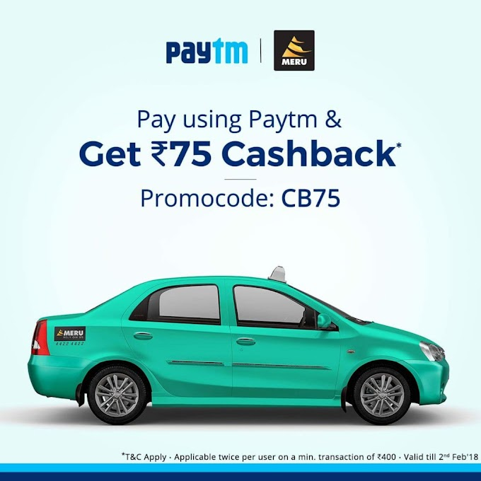 Meru Cabs - Get Rs.75 Cashback On Cab Bookings Of Rs.400 or More via Paytm