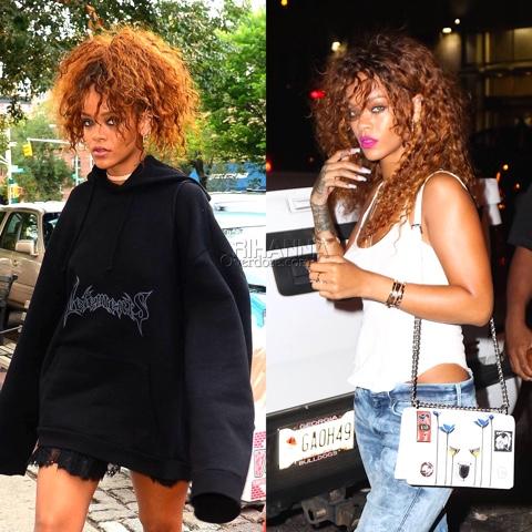 Rihanna in Vetements Oversized Logo Hoodie