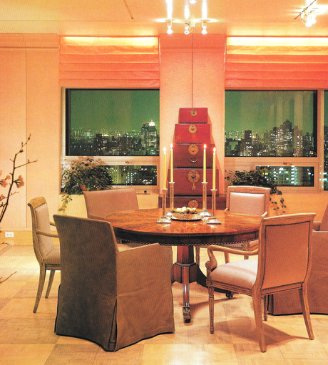 The Dining Room U2013 With Its Tower Of Korean Red Chests Is Something That  Saladino Had In His Media Room At Villa Di Lemma. The Windows Were Short  Because Of ...