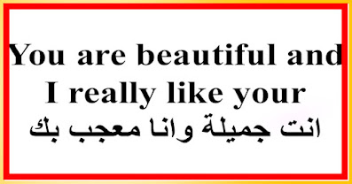 You are beautiful and I really like your انت جميلة وانا معجب بك