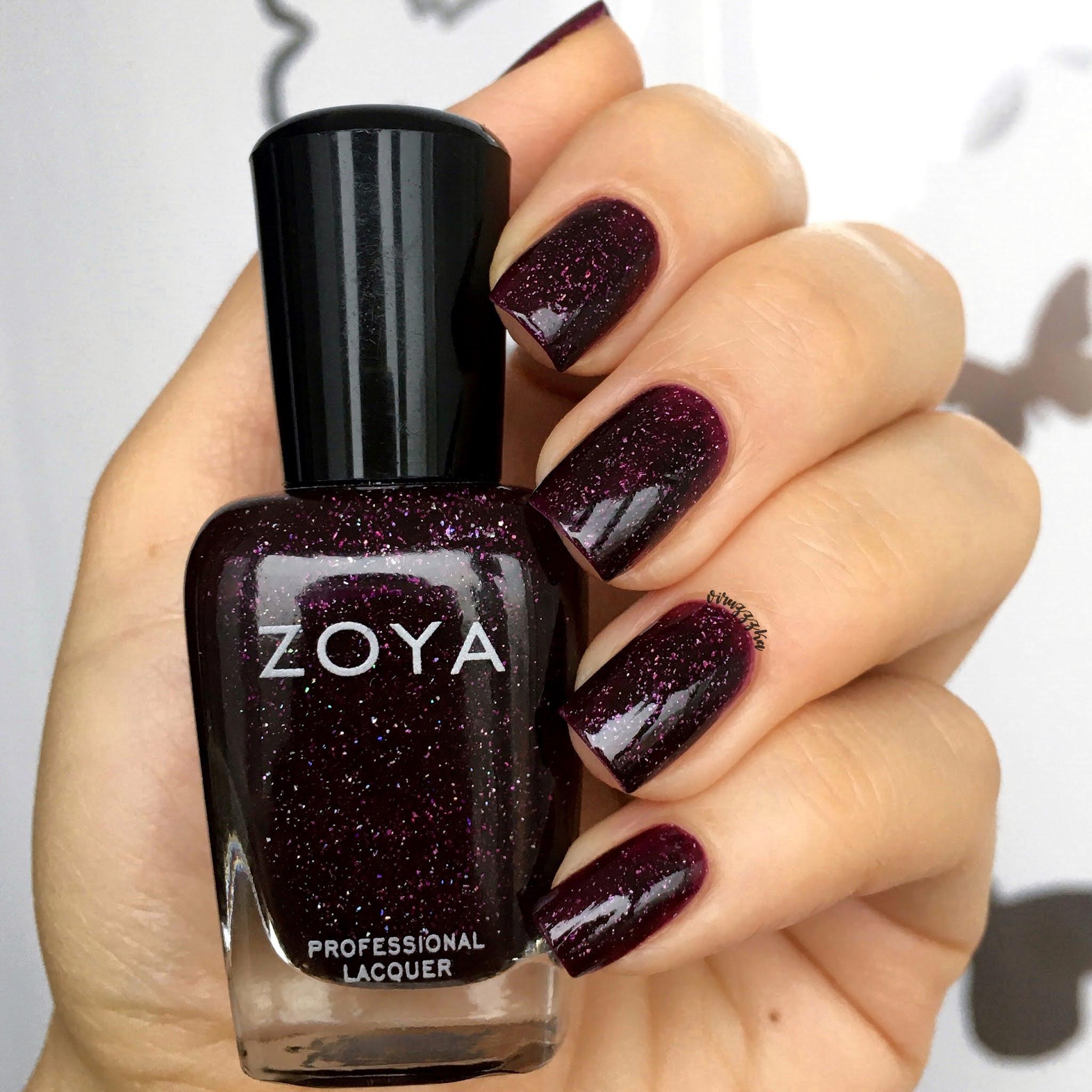 Zoya Payton Nail Polish Swatch Purple Nails Autumn Manicure Review