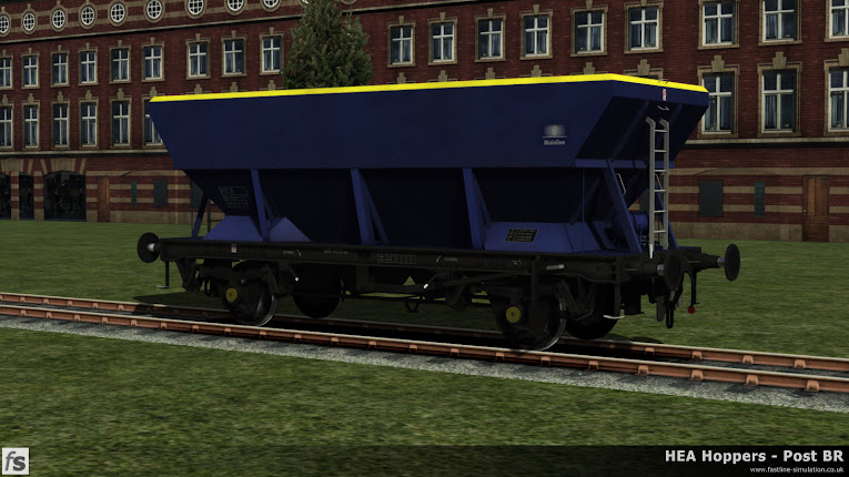 HEA Hoppers - Post BR: One of the early versions of an HEA hopper with central ladder in almost ex-works Mainline livery for Train Simulator 2014.