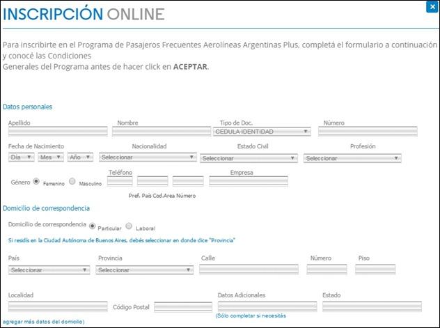 Abrir mi cuenta Aerolineas Argentinas - 3