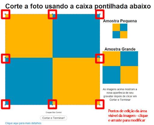 Pontos de edição da área de corte da imagem