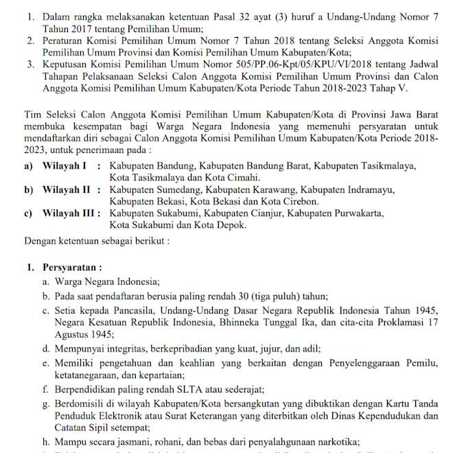 Pendaftaran Calon Anggota KPU Kabupaten/Kota di Jabar