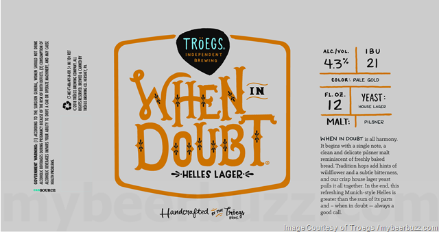Troegs Adding NEW When In Doubt Helles Lager