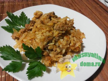 Вкусные ленивые голубцы с рисом и фаршем