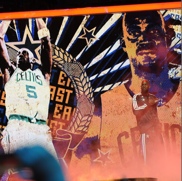 Kevin Garnett #5 of the Eastern Conference All-Stars is introduced during the 2013 NBA All-Star Game presented by Kia on February 17, 2013 at the Toyota Center in Houston, Texas.