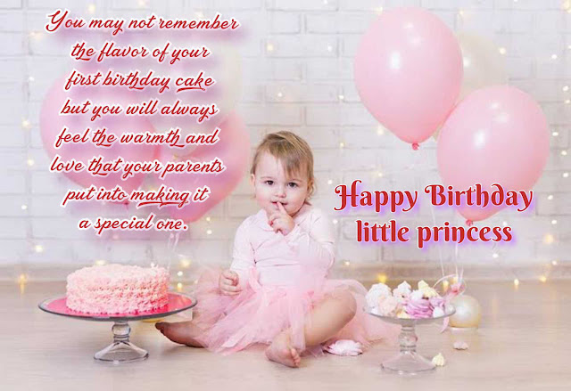 Happy birthday quote for girl with Cake and balloons background, Birthday quotes for kids.
