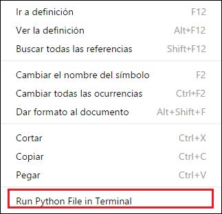 ejecutar python en terminal VS Code