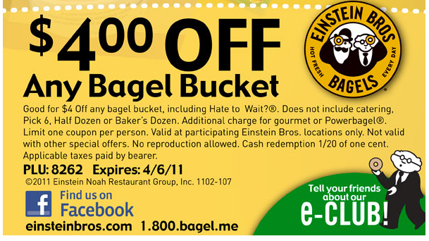 Einstein bagels coupon code