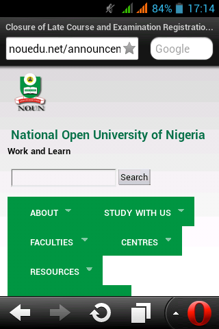 NOUN university,deadline Registration for course and examination
