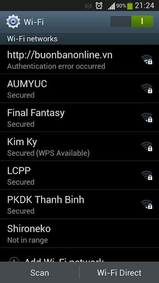 samsung galaxy s3 authentication error occurred wifi