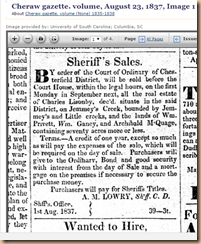 Charles Lisenby, Sheriff's Sale Col 2