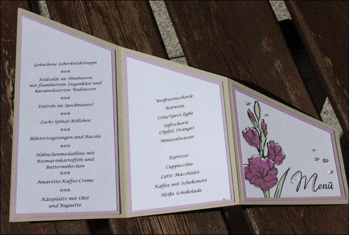 Dekoideen Dinnerparty Tischdeko Menükarte Stampin Up Schmetterling 03